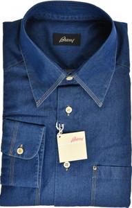 Brioni Denim Dress Shirt Cotton XLarge V Blue