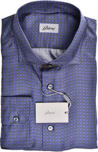 Brioni Dress Shirt Silk XLarge V Purple Brown Geometric
