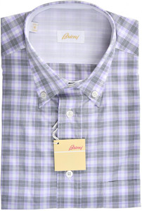 Brioni Dress Shirt Short Sleeve Cotton Medium III Gray Check