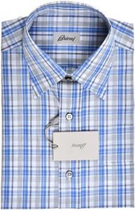 Brioni Dress Shirt Short Sleeve Cotton Small II Blue Gray Check