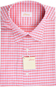 Brioni Dress Shirt Short Sleeve Cotton Medium III Pink Check