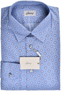 Brioni Dress Shirt Cotton Medium III Blue Purple Geometric