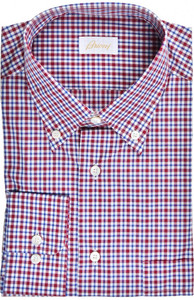 Brioni Dress Shirt Cotton Large IV Red Blue Check