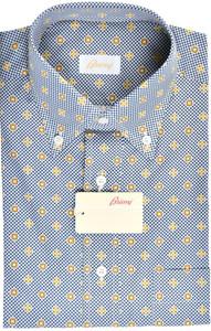 Brioni Dress Shirt Short Sleeve Cotton Medium III Blue Yellow