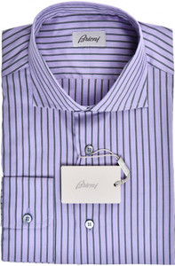 Brioni Dress Shirt Cotton Silk Medium III Purple Gray Stripe