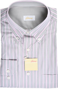 Brioni Dress Shirt Cotton Medium III Pink Gray Stripe