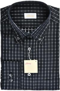 Brioni Dress Shirt Cotton Medium III Black White Check