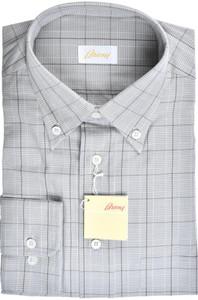 Brioni Dress Shirt Cotton Medium III Gray Brown Check