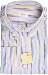 Brioni Dress Shirt Linen XXLarge VI Purple Blue Stripe