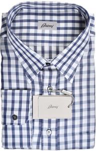 Brioni Dress Shirt Cotton Size 20 US Blue Check