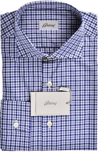 Brioni Dress Shirt Cotton Medium III Purple Blue Check