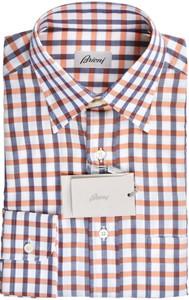 Brioni Dress Shirt Cotton Small II Orange Blue Check