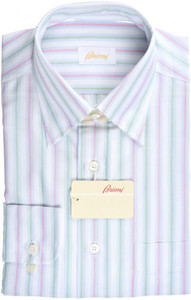 Brioni Dress Shirt Cotton Small II Pink Green Stripe