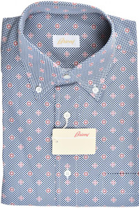 Brioni Dress Shirt Short Sleeve Cotton Medium III Blue Red