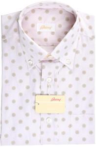 Brioni Dress Shirt Short Sleeve Cotton Medium III Pink Brown
