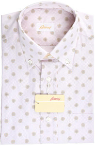 Brioni Dress Shirt Short Sleeve Cotton Small II Pink Brown