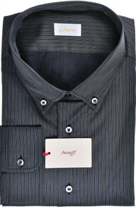 Brioni Dress Shirt Cotton Silk XXXXLarge VIII Black Gray Stripe