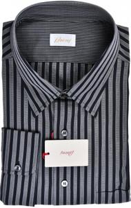 Brioni Dress Shirt Cotton XXXXLarge VIII Black Gray Stripe