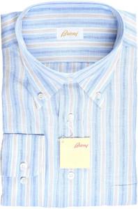 Brioni Dress Shirt Linen XLarge V Blue Brown Stripe