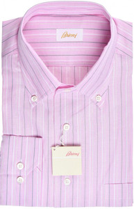 Brioni Dress Shirt Cotton Linen XLarge V Pink Gray Stripe