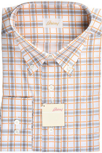 Brioni Dress Shirt Cotton XLarge V Orange Brown Check