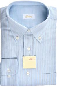 Brioni Dress Shirt Cotton Cashmere XLarge V Blue Stripe