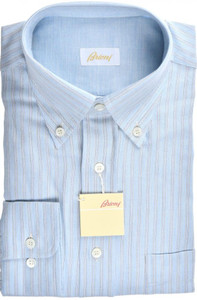 Brioni Dress Shirt Cotton Cashmere Medium III Blue Stripe