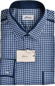 Brioni Dress Shirt Superfine Cotton XLarge Blue Check