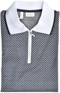 Brioni Zip Polo Shirt Fine Cotton Size Medium Gray White