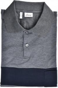 Brioni Polo Shirt Fine Cotton Size XLarge Gray Blue