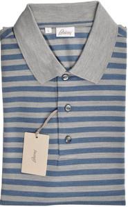 Brioni Polo Shirt Fine Silk Size Medium Blue Gray