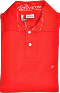 Brioni Polo Shirt Fine Cotton Medium Bright Red