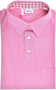 Brioni Polo Shirt Fine Cotton Size Large Pink