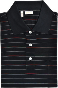 Brioni Polo Shirt Fine Silk Size XLarge Black Red