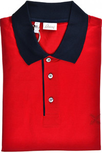 Brioni Polo Shirt Fine Cotton Size XLarge Red Blue