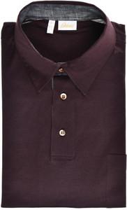 Brioni Polo Shirt Fine Cotton Size Large Dark Brown