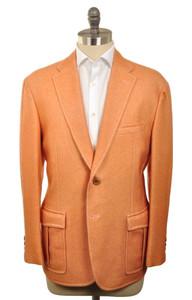 d'Avenza Sport Coat 2B Centr Vent Wool Unlined 44 54 Orange Solid