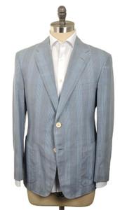 d'Avenza Sport Coat 2B Cotton 1/4 Lined 40 50 Blue Plaid
