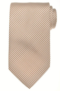 E. Marinella Napoli Tie Silk 57 x 3 5/8 Brown White Geometric