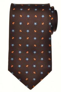 E. Marinella Napoli Tie Silk 57 3/4 x 3 5/8 Brown Blue Geometric