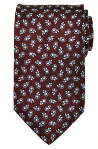 E. Marinella Napoli Tie Silk 56 3/4 x 3 5/8 Brown Blue Geometric