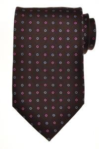 E. Marinella Napoli Tie Silk 57 1/2 x 3 3/4 Brown Blue Geometric
