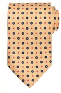 E. Marinella Napoli Tie Silk 57 1/2 x 3 5/8 Yellow Blue Geometric
