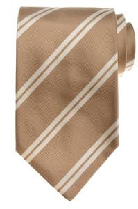 E. Marinella Napoli Tie Silk 57 1/2 x 3 3/4 Brown White Stripe