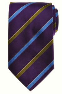 E. Marinella Napoli Tie Silk 58 1/4 x 3 5/8 Purple Blue Stripe
