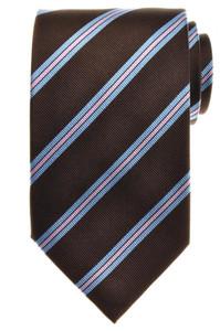 E. Marinella Napoli Tie Silk 57 3/4 x 3 5/8 Brown Blue Pink Stripe