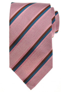 Luigi Borrelli Napoli Tie Silk 59 x 3 1/4 Pink Blue Brown Stripe