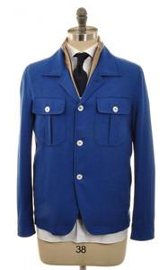 Isaia Napoli Shirt Jacket Coat Wool Blend 50 Medium Blue Solid