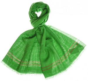 """Cesare Attolini Scarf Silk Linen 74"""" x 30"""" Green Solid"""