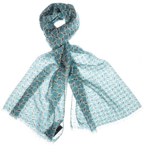 """Cesare Attolini Scarf Cashmere Cotton 72"""" x 27"""" Blue Geometric"""